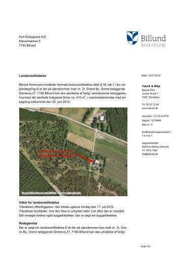 Landzonetilladelse, udvidelse af bolig i ... - Billund Kommune