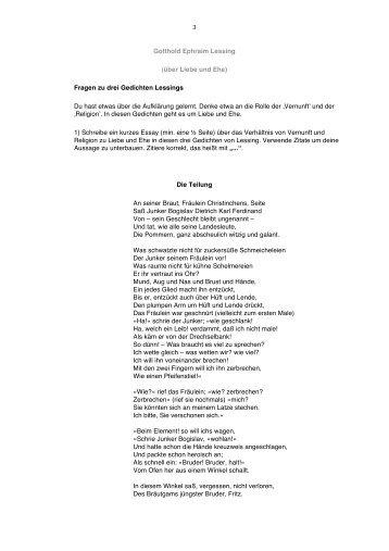 3 Gotthold Ephraim Lessing (über Liebe und Ehe) Fragen zu drei ...
