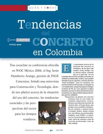 Tendencias del concreto en Colombia - Instituto Mexicano del ...
