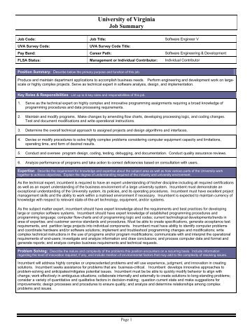 Software Engineer V - UVA Human Resources - University of Virginia