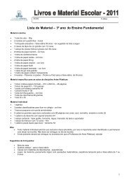 Lista de Material – 3º ano do Ensino Fundamental