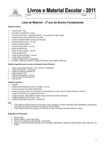 Lista de Material – 3º ano do Ensino Fundamental