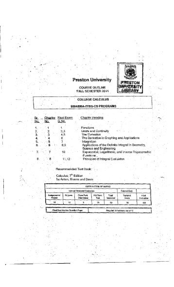 College Calculus - Preston University