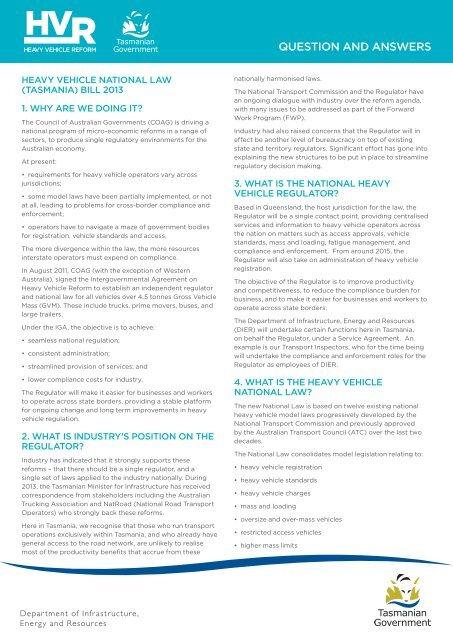 Heavy Vehicle Reform Legislation Q and A, (PDF) - Transport