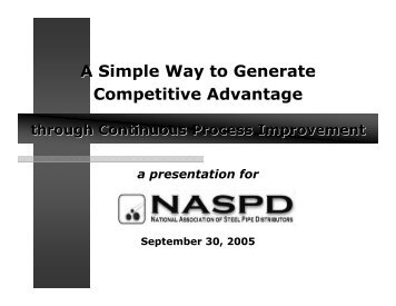 A Simple Way to Generate Competitive Advantage - NASPD