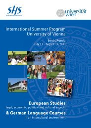 International Summer Program University of Vienna European ...