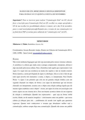 ELENCO DE GTS, MINICURSOS E OFICINAS DISPONÍVEIS PARA ...