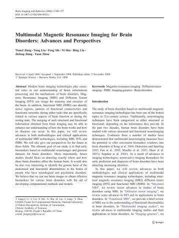 Multimodal Magnetic Resonance Imaging for Brain ... - Springer