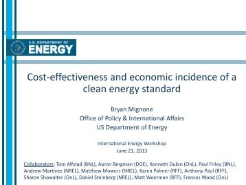 Cost-Effectiveness and Economic Incidence of a Clean Energy ...