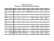 Summer Conditioning Program Schedule