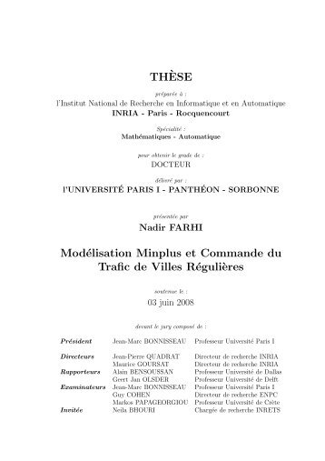 TH`ESE Modélisation Minplus et Commande du ... - MESCAL Project