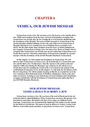 CHAPTER 6 - Yeshua - Our Jewish Messiah - Unleavened Bread