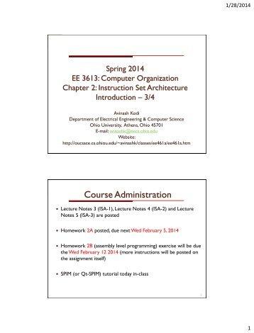 Instruction Set Architecture - Ace - Ohio University