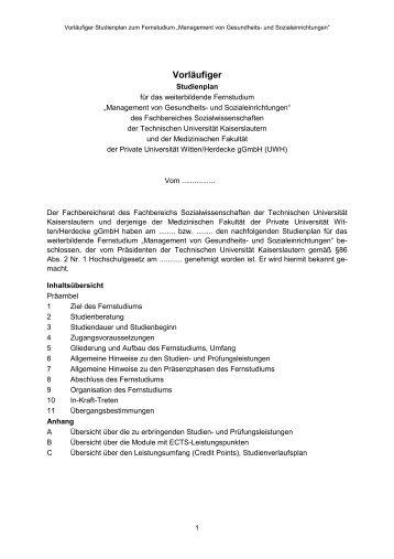 Vorläufiger - Universität Witten/Herdecke