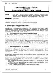 BUREAU DIRECTEUR FÉDÉRAL BELFORT Vendredi 31 Mai 2013 ...