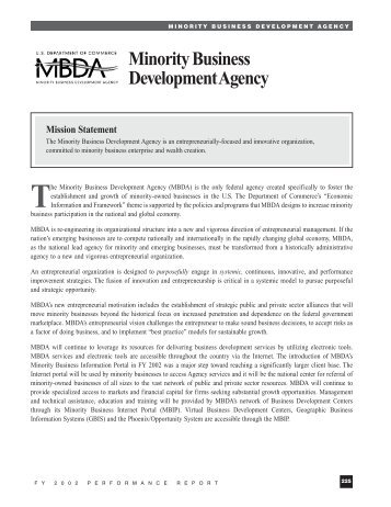 Minority Business Development Agency - Department of Commerce