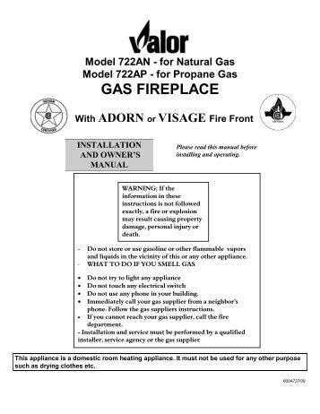B Vent Gas Insert Model 738bvn Natural Gas Model Valor