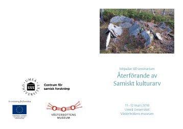 Återförande av Samiskt kulturarv - Västerbottens museum