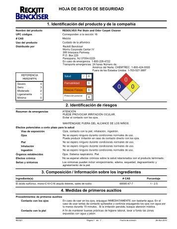 HOJA DE DATOS DE SEGURIDAD 1. Identificación del producto y ...
