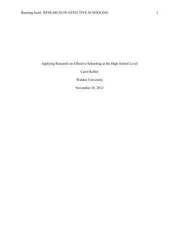 Running head: RESEARCH ON EFFECTIVE SCHOOLING 1 ...