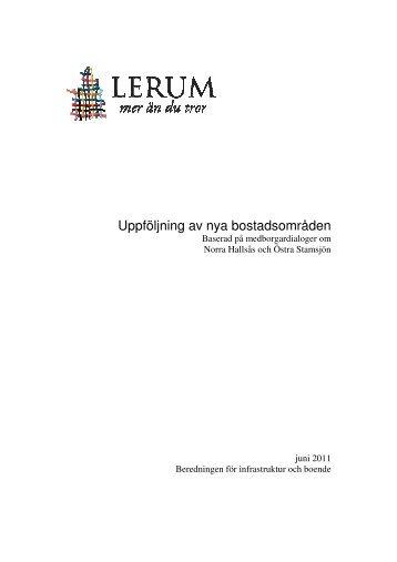 Uppföljning av nya bostadsområden - Lerums Kommun