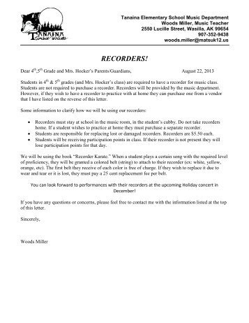Recorder Letter 2013