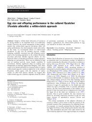 Egg size and offspring performance in the collared flycatcher ...