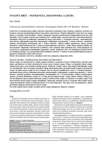 svalové kŕče – patogenéza, diagnostika a liečba - snmo.sk