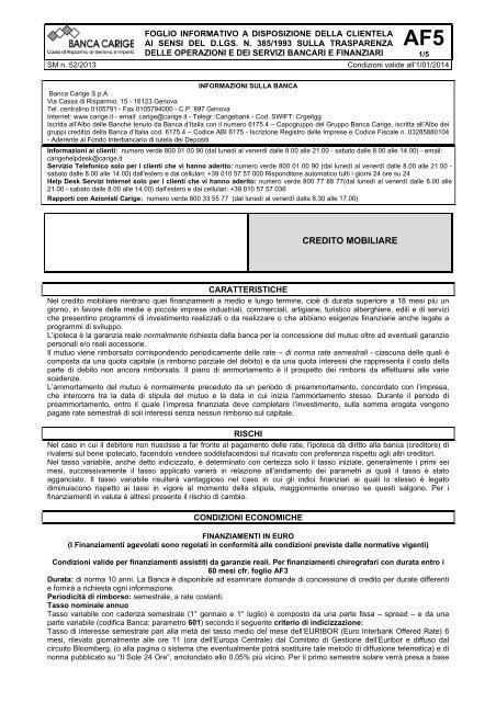 CREDITO MOBILIARE - Banca Carige