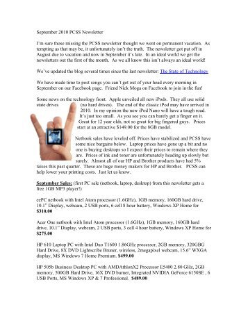 September 2010 PCSS Newsletter - PCSS Home