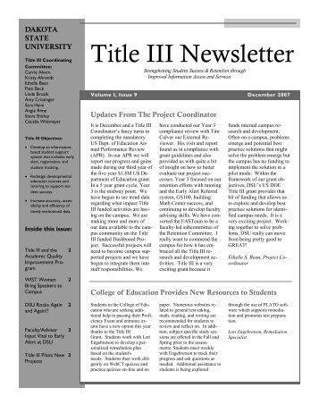 Title III Newsletter - Dakota State University
