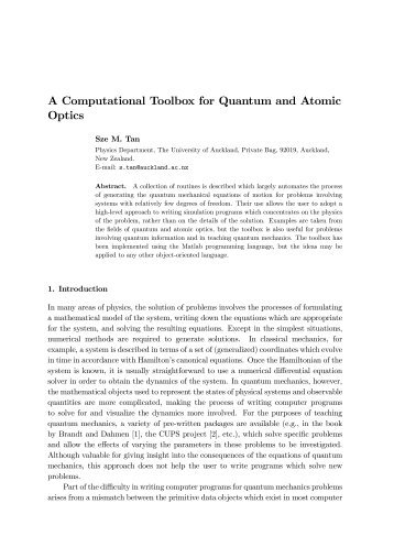 A Computational Toolbox for Quantum and Atomic Optics - Painter ...