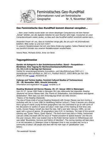 Nr. 9, November 2001 - AK Geographie und Geschlecht