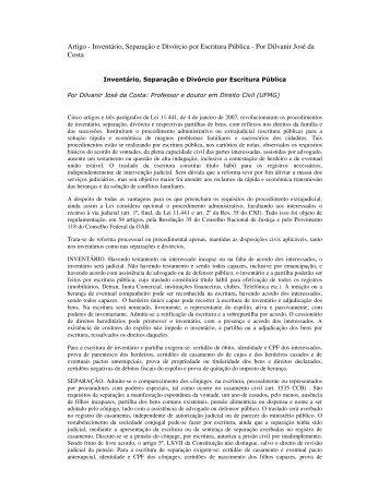Inventário, Separação e Divórcio por Escritura Pública - Recivil