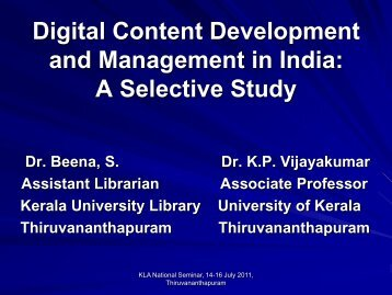 Digital Content Development and Management in India: A Selective ...