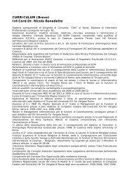 CURRICULUM (Breve) Inf.Cord.Dr. Nicola Benedetto