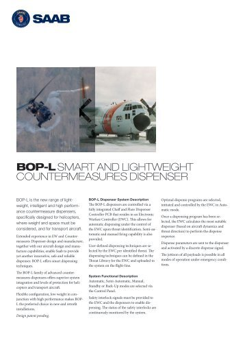 BOP-L series CM dispenser product sheet (pdf) - Saab