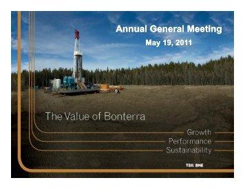 Annual General Meeting May 19, 2011 - Bonterra Energy Corp.