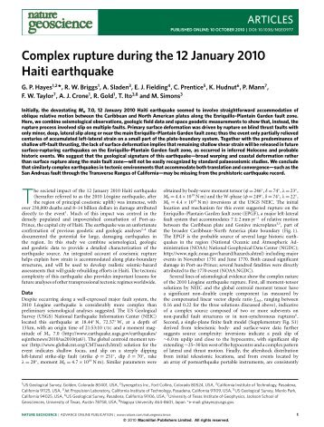Complex rupture during the 12 January 2010 Haiti earthquake