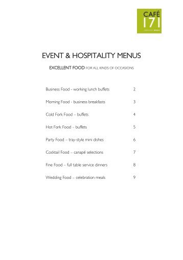 EVENT & HOSPITALITY MENUS - Jerwood Space