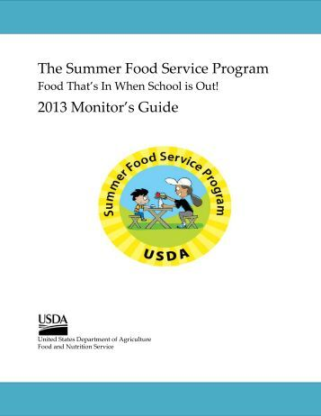 The Summer Food Service Program 2013 Monitor's Guide