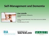 Self-Management and Dementia - Alzheimer Knowledge Exchange ...