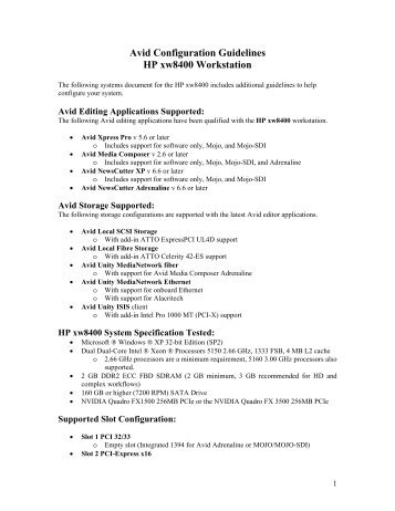 Avid Configuration Guidelines HP xw8400 Workstation - Fofic