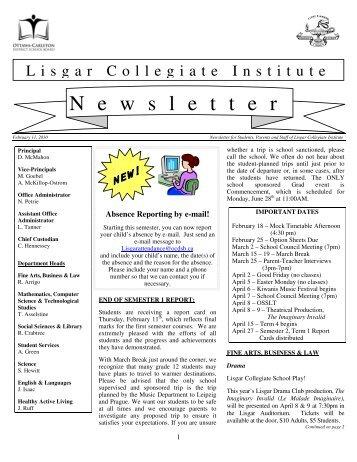 February 11, 2010 - Lisgar Collegiate Institute