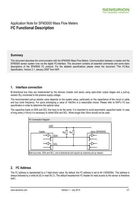 I2C Functional Description for SFM3000 - Sensirion