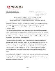 Sales of Red Mango at Kahala Mall to Benefit American Diabetes ...