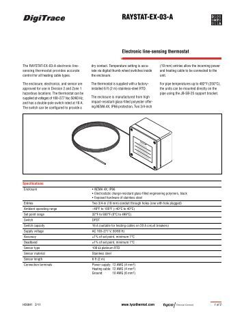 RAYSTAT-EX-03-A Datasheet - Tyco Thermal Controls