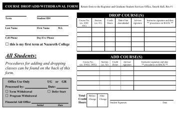 Add/Drop Form - Pacific Oaks College