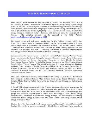 2011 FESC Summit—Sept. 27-28 at UF - Florida Energy Systems ...
