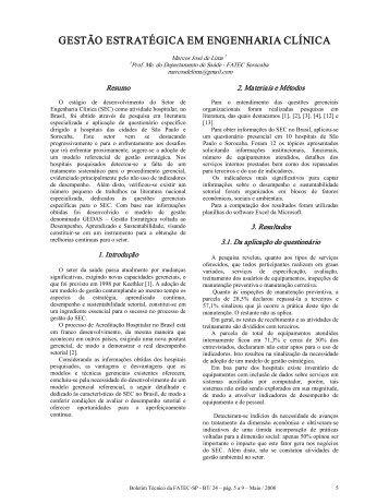 gestão estratégica em engenharia clínica - Boletim Técnico da ...